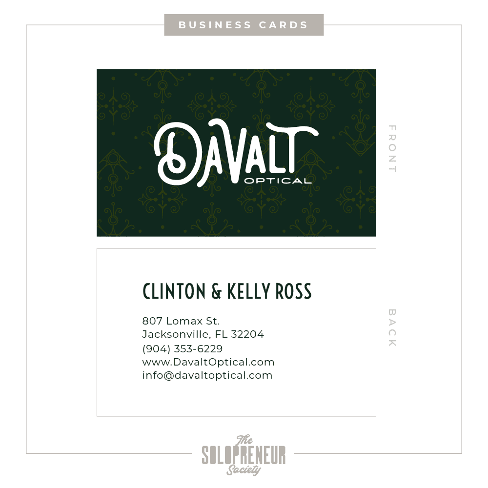 Davalt Optical Brand Identity Business Cards