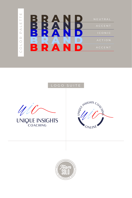 Unique Insights Coaching Logo Suite Design